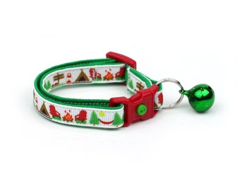 Camping Cat Collar - Summer Camp on White - Small Cat / Kitten Size or Large Size