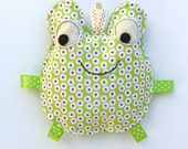 Baby toy, Fiona the Frog, Crinkle Toy, Great Baby Gift, Pink and Green