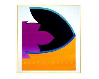 contemporary art print, minimal collage art, modern home decor, magenta interior design