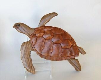 Loggerhead Sea Turtle Intarsia Wall Hanging Animal Wood Carving