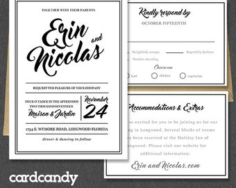 Printable Wedding Invitation Suite, Edit Text and Artwork in Microsoft Word. Wedding Invitation Template Download