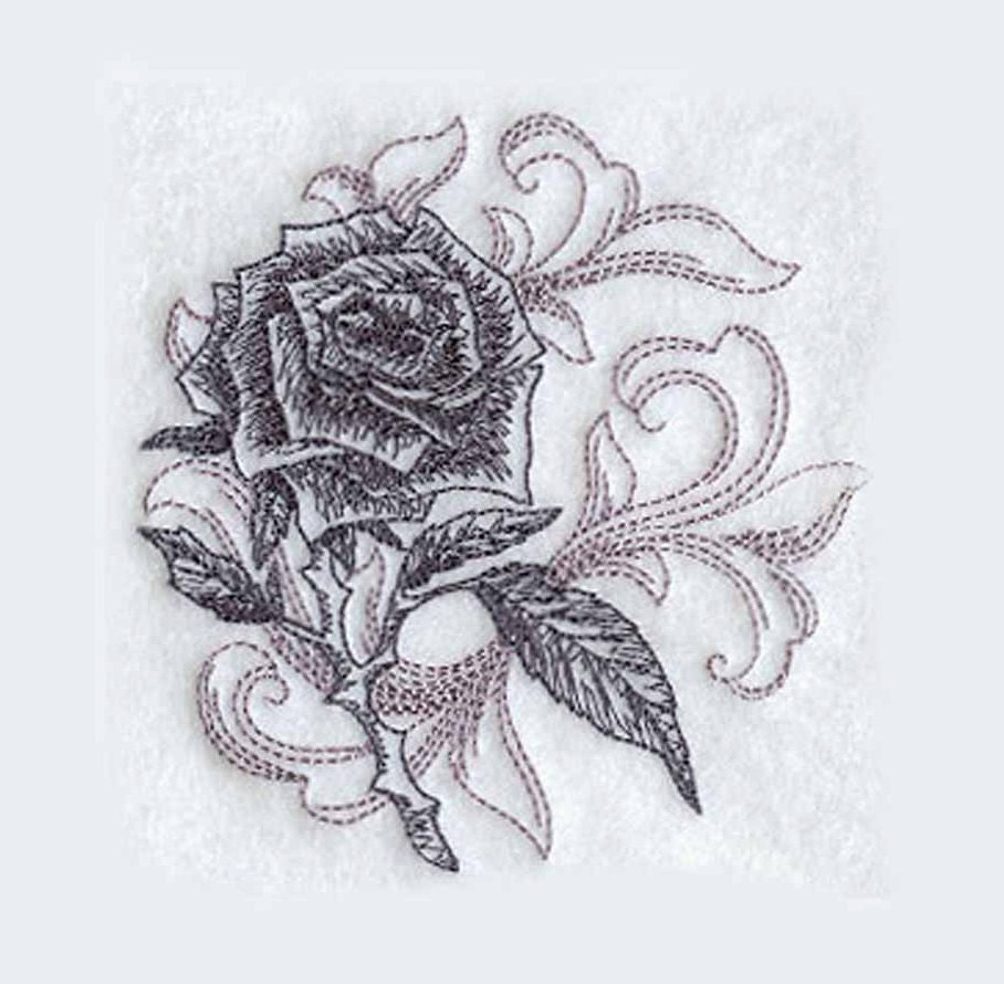 Rose Embroidered Towels: Baroque Rose Tea Towel Embroidered Kitchen Towel