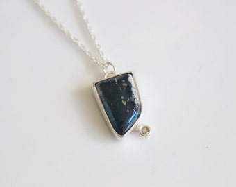 Metallic Blue Necklace / Covellite and Tourmaline Necklace / Metal Stone Necklace / Shiny Blue Metal Stone Jewelry / Yellow Tourmaline Stone