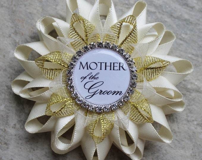 Bridal Shower Gift, Mother of the Groom Gift, Mother of the Bride, Grandmother of the Bride, Wedding Corsage Pins, Ivory and Gold