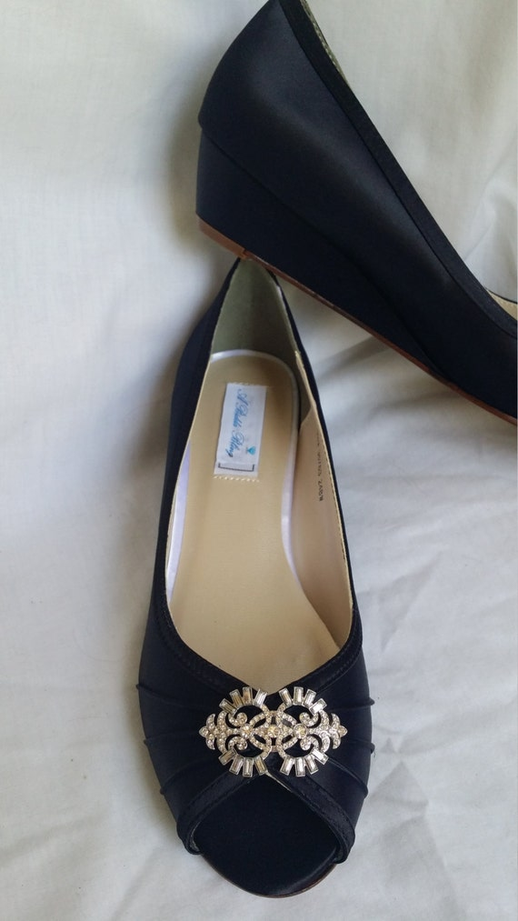 wedding shoes black wedge shoes bridal wedges with sparkling