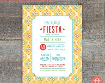 Co-Ed Fiesta Wedding Shower Invitation Printable File, Birthday Party, Bachelorette Party, Bridal Shower, Print at Home, Mexican Party