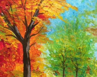 Acrylic Painting Autumn Leaves Art Print