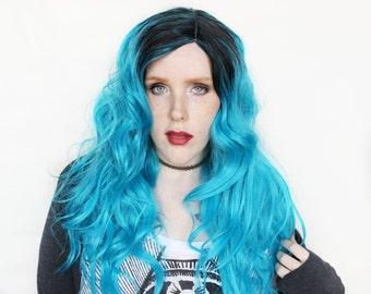 SALE Long Blue wig | Wavy Blue wig | Aqua Blue Scene Emo wig with Black Roots | Fiji Waves