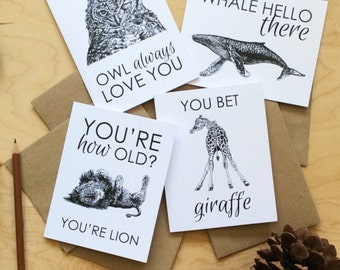 50% OFF SALE greeting cards set: just for fun cards, everyday cards, occasion cards, animal cards, fox, giraffe, elephant, lion
