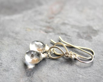 Teardrop Crystal Quartz Earrings Clear Stone Earrings Sterling Silver Wire Wrapped