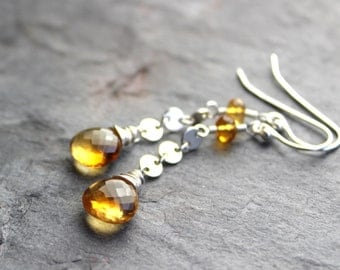 Citrine Earrings Sterling Silver Discs with Gemstone Briolettes November Birthstone Dangles