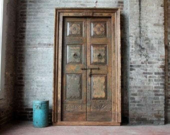 Antique Door Set Indian Hand Carved Teak Wood Haveli Doors Moroccan Interior Mediterranean Decor Global Decor