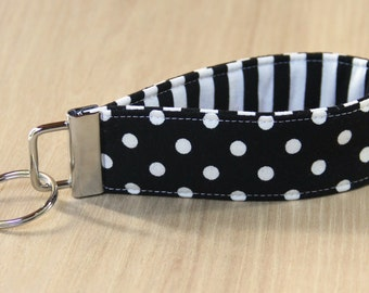 Key Fob Wristlet - Black and White Dots and Stripes - Ready to Ship