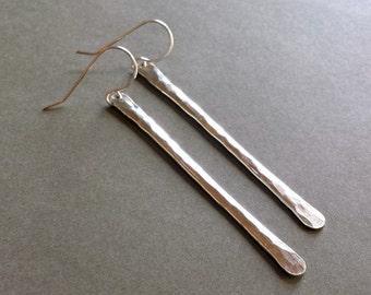 Long Silver Stick Earrings, Sterling Silver Bar Earrings, Sterling Silver Stick, Modern Silver Earrings, Minimalist Bar