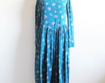 Vintage 1980s LAURA ASHLEY Floral Dress Blue-Green Corduroy Cotton Grunge Dress 10US