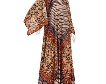 Vintage 70's Indian Ethnic Floral Paisley BLOCK Print Angel Sleeves Hippie Boho Summer Festival Maxi DRESS