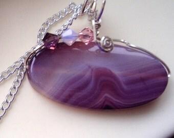 Purple Agate Pendant, Wire Wrapped Pendant, Lavender Pendant, Agate Pendant, Violet Necklace