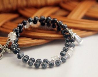 Divine Mercy Rosary Bracelet, Snowflake Obsidian and Snow Quartz