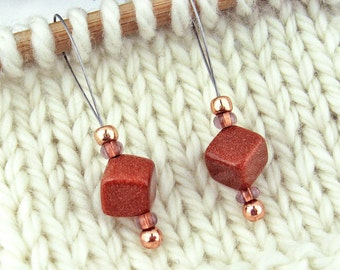 Stitch Markers, Knitting, Goldstone, Semi-Precious Stones, Copper, Snag Free, Jeweled Tool, Knitting Accessory, Supplies, Gift for Knitters