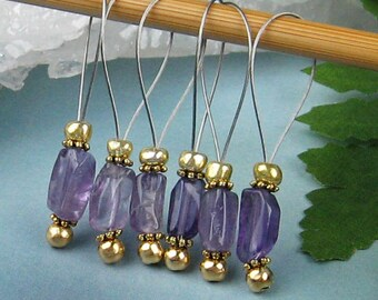 Stitch Markers, Knitting, Amethyst, Semi-Precious Stones, Snag Free, Jeweled Tool, Knitting Accessory, Supplies, Handmade, Gift for Knitters