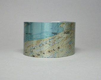 Isle Royale National Park Michigan Map Cuff Bracelet Hiking Gift for Men or Women