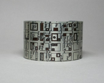 Houston Texas Cuff Bracelet Vintage Map Unique Gift for Men or Women Wide Metal Old City Map