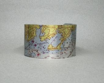 Greenwich Connecticut Nautical Map Cuff Bracelet Unique Gift for Men or Women