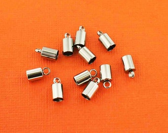 6 Stainless Steel Cord Ends 10mm x 5mm Perfect for Necklace Making Fits 4mm Cord - FD220