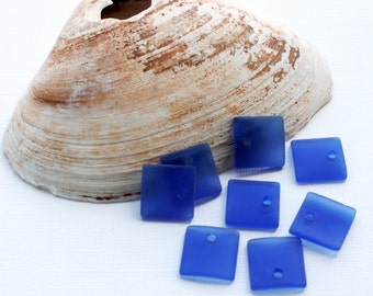 2 Sea Glass Beads Cultured Concave Square Shape with Drilled Hole - U054