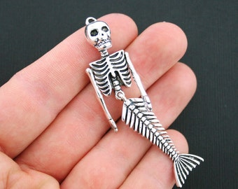 Large Mermaid Skeleton Charms Antique Silver Tone Bendable - SC3286