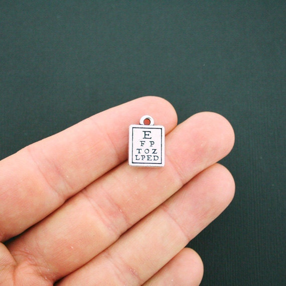 4 Eye Exam Chart Charms Antique Silver Tone 2 Sided