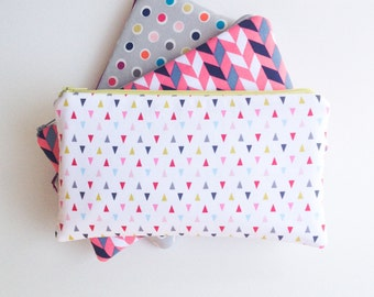 Geometric Zipper Pouch, Pencil Case, Pencil Pouch, Back To School, College Kids School Supplies, Gift for Women Pink and Grey Organizer Bags