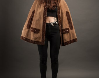 Suede Cape with Cutout Detailing