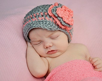 Gray and Blush Pink Brimmed Hat With Flower, Newborn to 3 months Hat, Photo Prop, Baby Hat