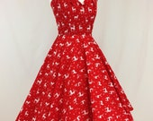 Reindeer and Snowflake Red and White Christmas Dress. Full circle skrit, halterneck, festive, Christmas Jumper.