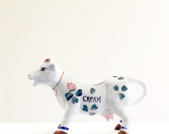 Novelty Cow Shaped Creamer Vintage Cream Pitcher Or Unique Miniature Planter With Handpainted Clover Design
