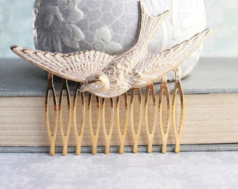 Shabby White Patina Bird Comb Gold Comb Flying Swallow Hair Accessory Feather Wing Woodland Wedding Raw Brass Bird Hair Clip Bridesmaid Gift