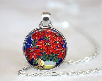 Christmas Necklace Christmas Jewelry Poinsetta Necklace Glass Tile Necklace Glass Tile Jewelry Holiday Necklace Holiday Jewelry Poinsetta