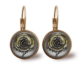 Rose Earrings Tile Earrings Bronze Jewelry Rose Jewelry Brass Earrings Brass Jewelry Tile Jewelry Flower Jewelry Flower Earrings