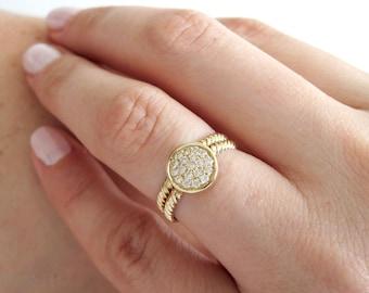 Set Wedding Rings, ring with Twist, Wedding Band, Round Diamond Diamond Disk With Twist Rope Band, Curved Rope Diamond Ring, Diamond,