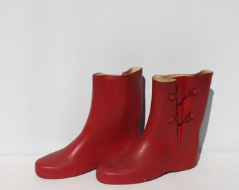 Vintage Boots Red Rubber Boots Galoshes 1950s Adult Size Wellies Gardening Rain Boots