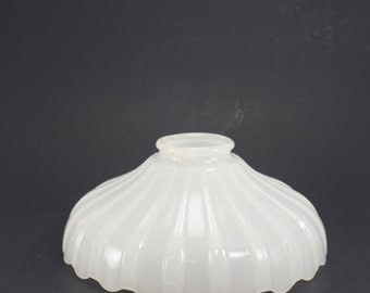 Vintage White Milk Glass Lamp Chandelier Torchiere Shade Translucent Scalloped Ribbed Art Deco