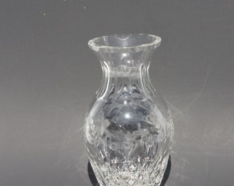 "Vintage Rogaska Gallia Crystal Flared Vase Leaded Etched Glass Vase 8"" Marked Rogaska Wedding Decor Wedding Shower Gift"