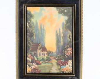 Vintage English Cottage Garden Framed Print The Boughs Are Murmuring In The Breeze Black Deco Frame Robert Atkinson Fox Style Colorful