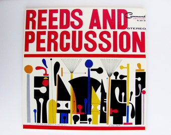 Vinyl Record Album Reeds And Percussion 1961 Command Records  RS820 S. Neil Fujita Signed Cover Art Excellent Condition Great Gift