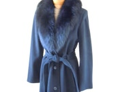 SALE Luxe Cole Haan Fox Fur, Cashmere and Wool Blend Long Coat, S-M