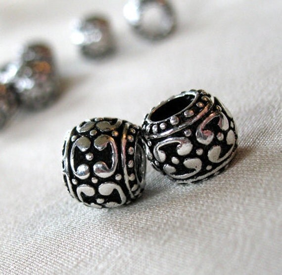 Black Enamel with Silver Fancy Bali Pattern large hole beads, 11mm wide x 8mm, hole diameter 5.5mm, package of 10