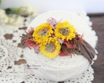 Fall Flowers  Newborn Tieback,  Gold Orange Mauve Tieback Headband,  Newborn Fall Photo Prop,  Vintage Headband, Flower Tieback, Baby Halo