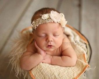 Newborn Tieback Headband - Newborn Photo Prop, Vintage Headband, Vintage Tieback, Newborn Halo, Newborn Crown, Organic, Cream, Beige, Pink