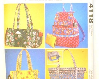 McCalls Fashion Accessory Pattern 4118, Tote bag, Duffel Bag, Drawstring Bag, Sewing Pattern